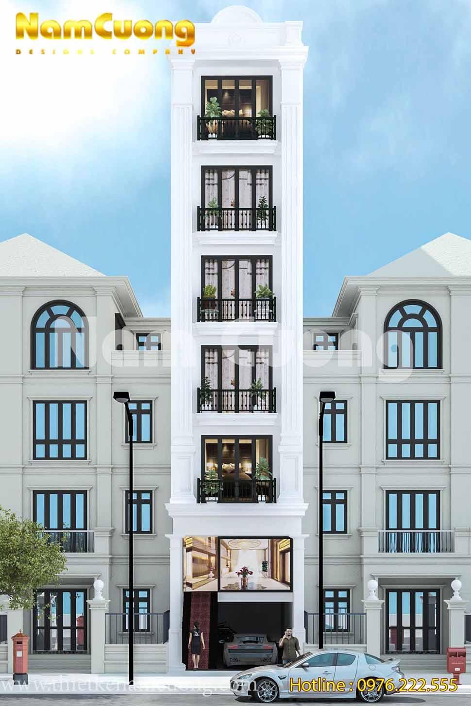 thiết kế nhà phố tân cổ điển 7 tầng