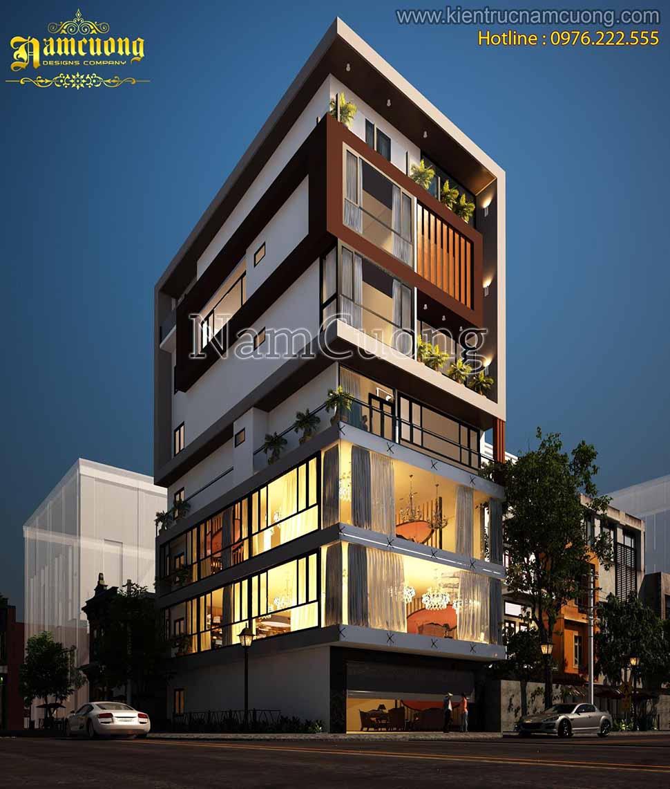 Thiết kế nhà phố vừa ở vừa kinh doanh được xây dựng trên nền diện tích lớn khiến cho ngôi nhà trở nên đồ sộ, tráng lệ hơn