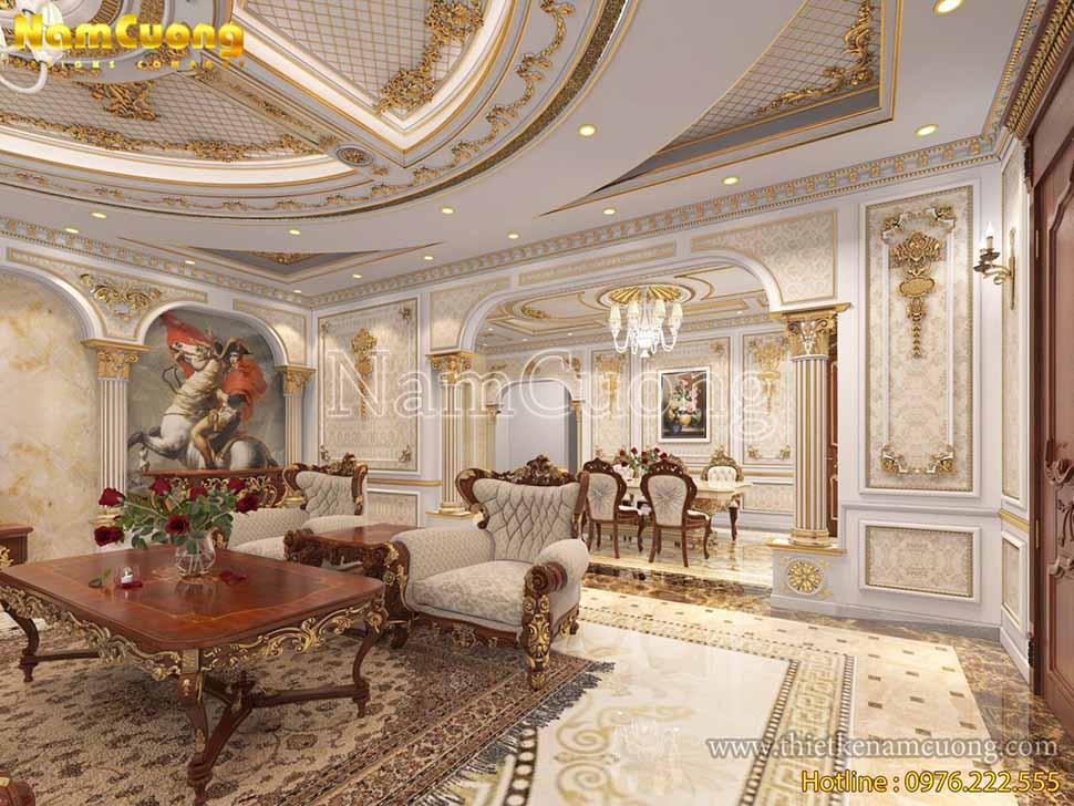 Phòng khách ngôi biệt thự được thiết kế theo lối kiến trúc Pháp