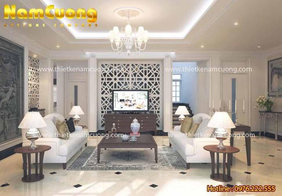 Mẫu thiết kế nội thất phòng khách bếp tân cổ điển