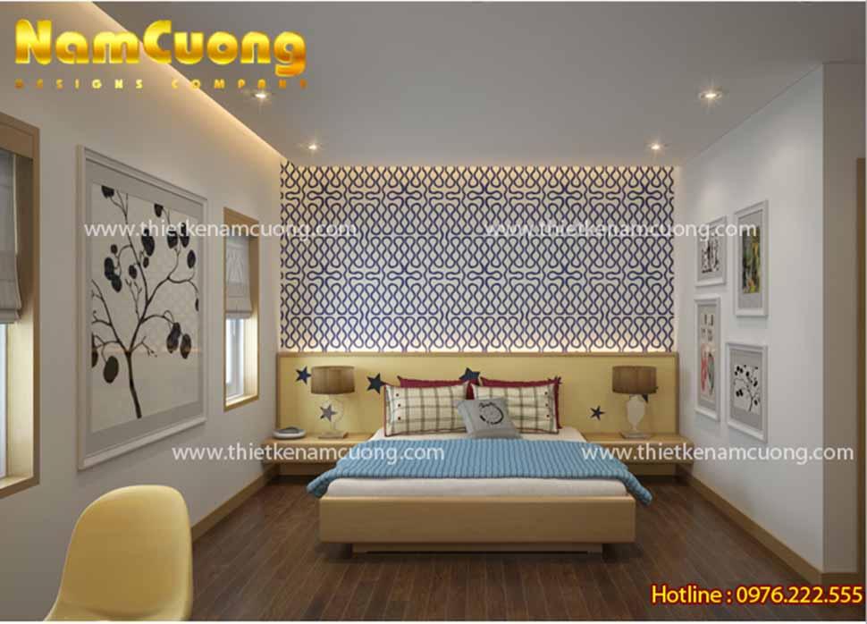 Thiết kế nội thất phòng ngủ hiện đại diện tích 25m2