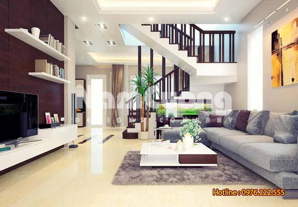 Mẫu thiết kế nội thất phòng khách hiện đại rộng 20 m2