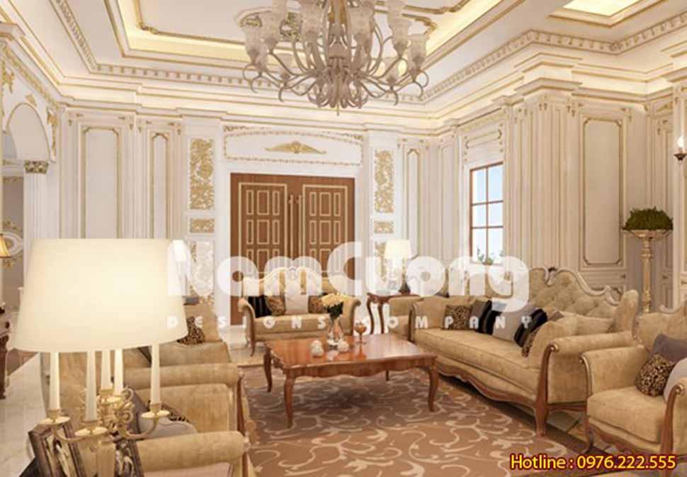 Mẫu thiết kế phòng khách 50m2 kiểu Pháp