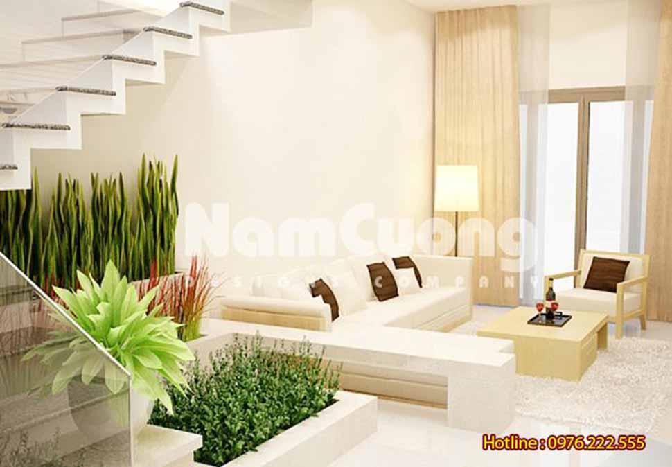 thiết kế phòng khách kết hợp bếp