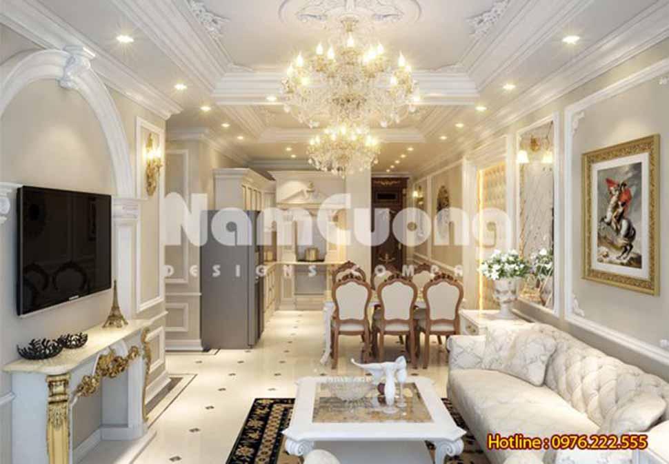 phòng khách và bếp liên thông