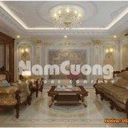 Mẫu thiết kế nội thất phòng sinh hoạt chung cổ điển rộng 40m2