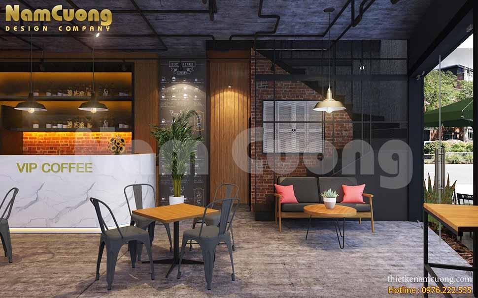 thiết kế quán cafe 2 tầng