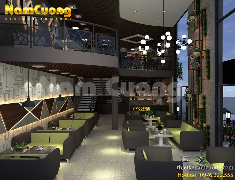 nội thất tầng 1 quán cafe 2 tầng