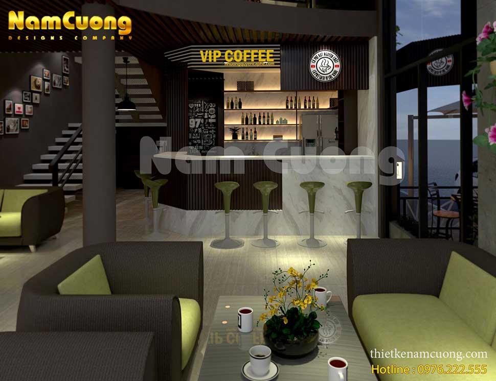 quầy bar trong mẫu thiết kế nội thất quán cafe