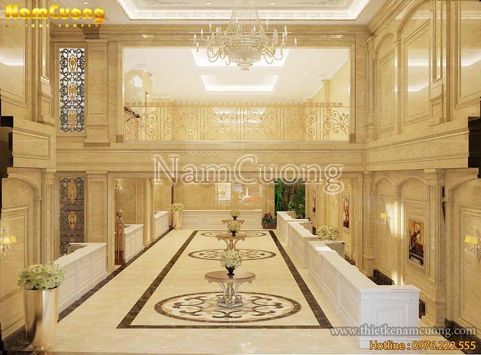 Toàn cảnh không gian sảnh khách sạn theo phong cách tân cổ điển