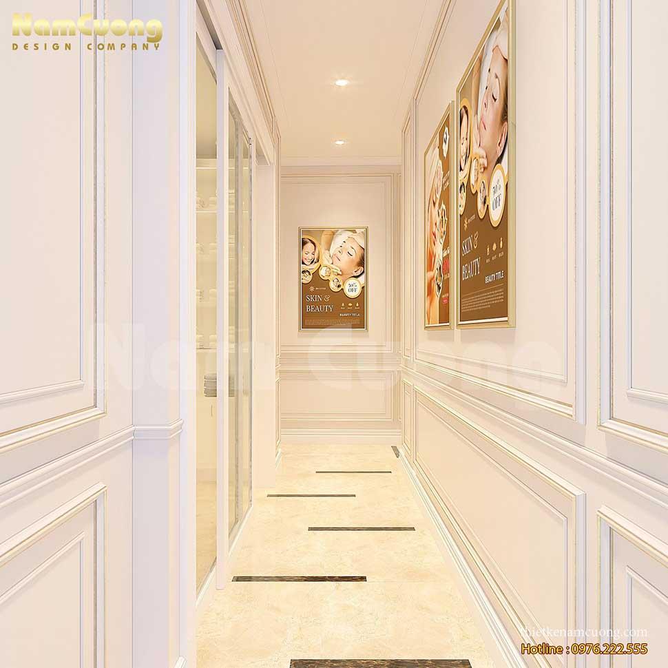 hành lang màu trắng