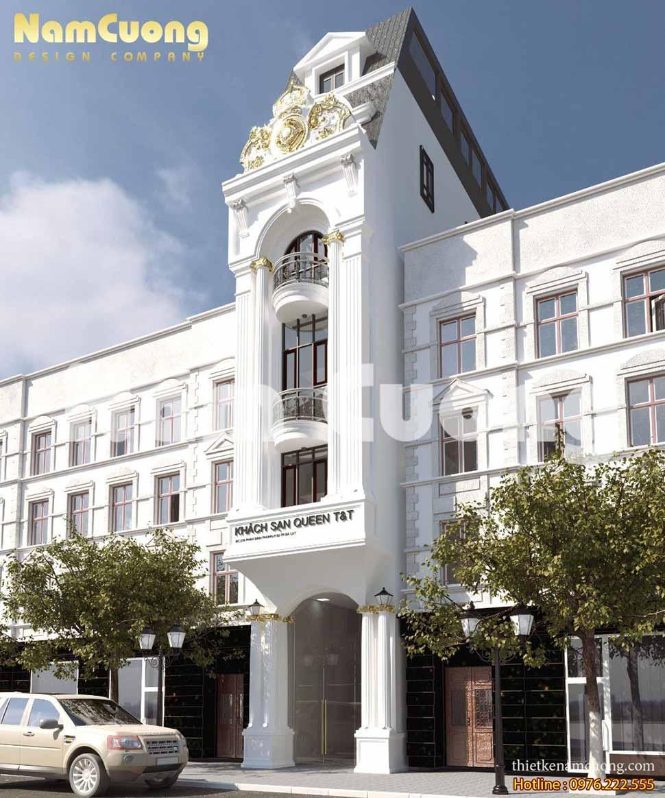 Phối cảnh 3D khách sạn tân cổ điển QUEEN T&Tư