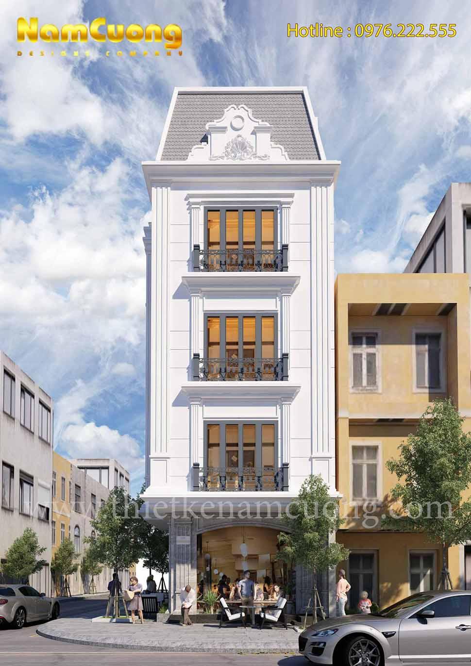 mặt tiền biệt thự 3 tầng kiểu pháp