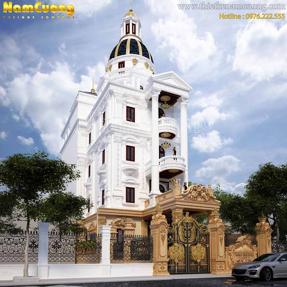 thiết kế biệt thự lâu đài 4 tầng