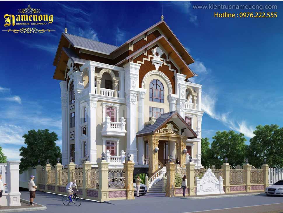 kiến trúc biệt thự pháp 3 tầng