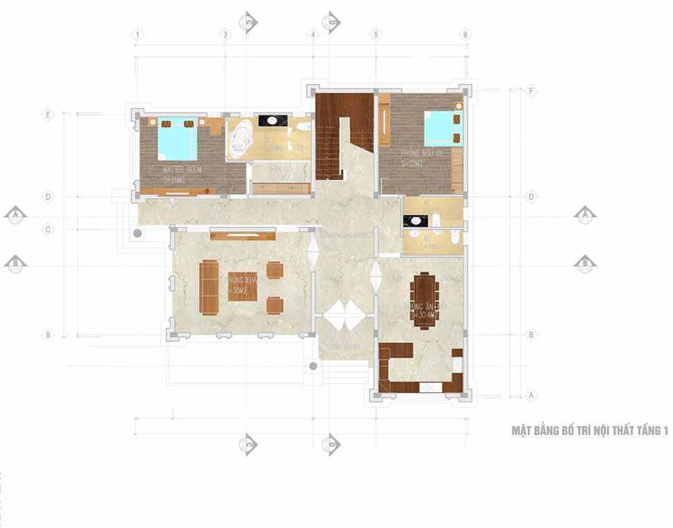 Mẫu mặt bằng nội thất biệt thự 2 tầng tại Quảng Bình