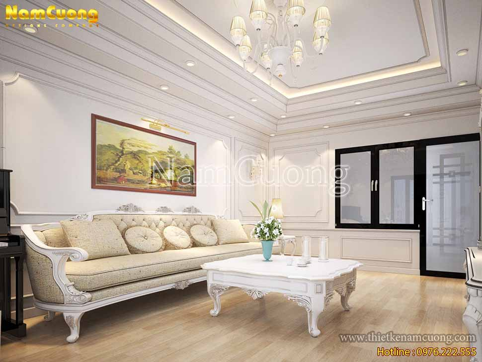 phòng khách nhà biệt thự mái thái