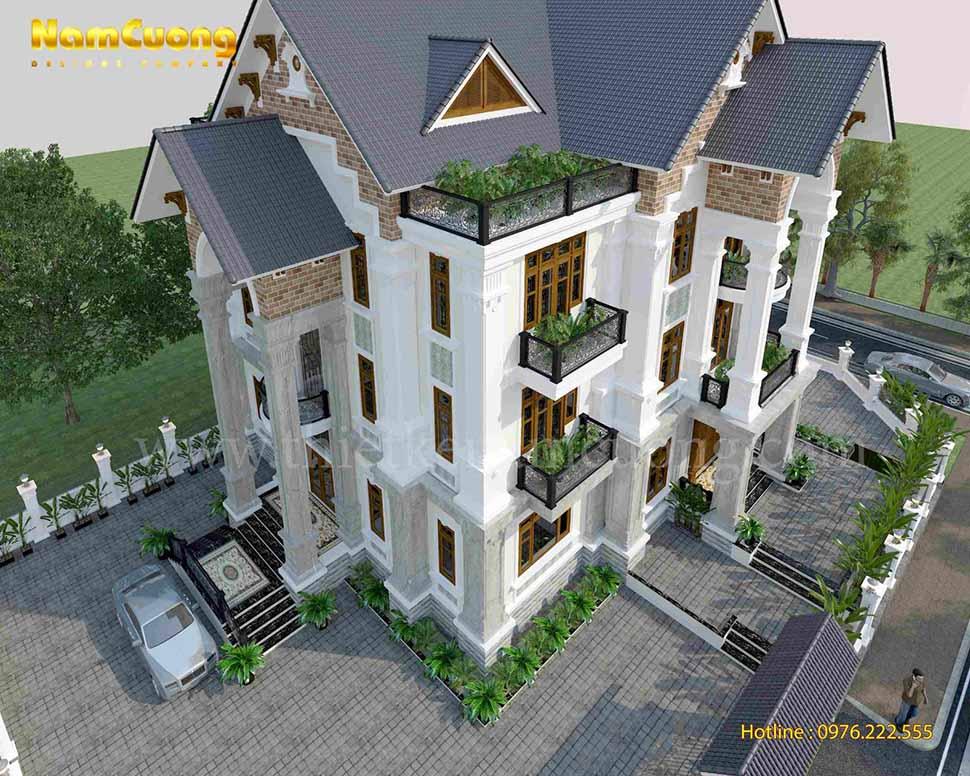 kiến trúc biệt thự 3 tầng mái thái