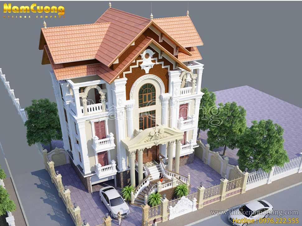 kiến trúc nhà 4 tầng mái thái