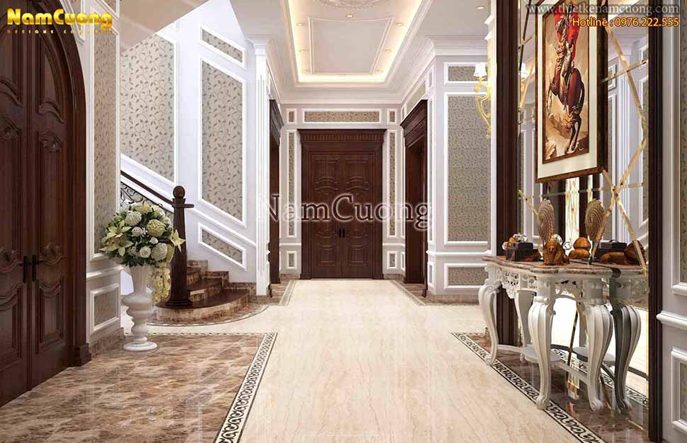 lối đi trong biệt thự 3 tầng