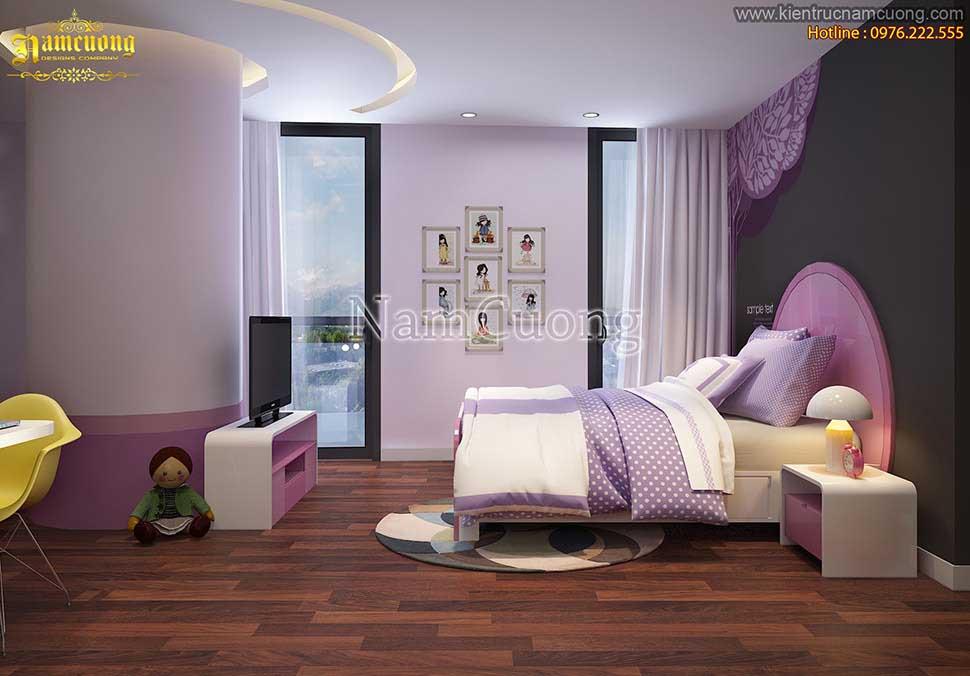 Thiết kế phòng ngủ màu hồng nữ tính