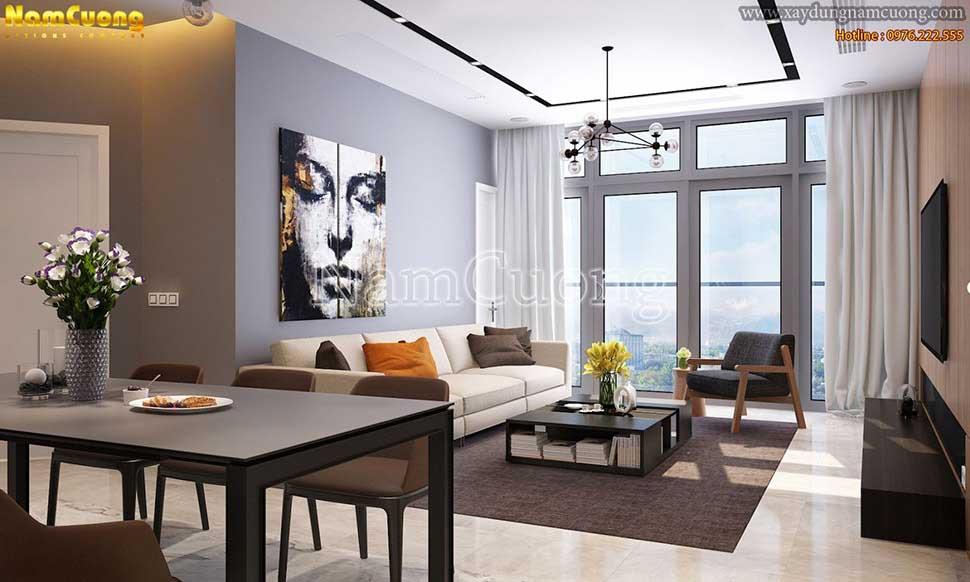 Mẫu phòng khách chung cư hiện đại đẹp