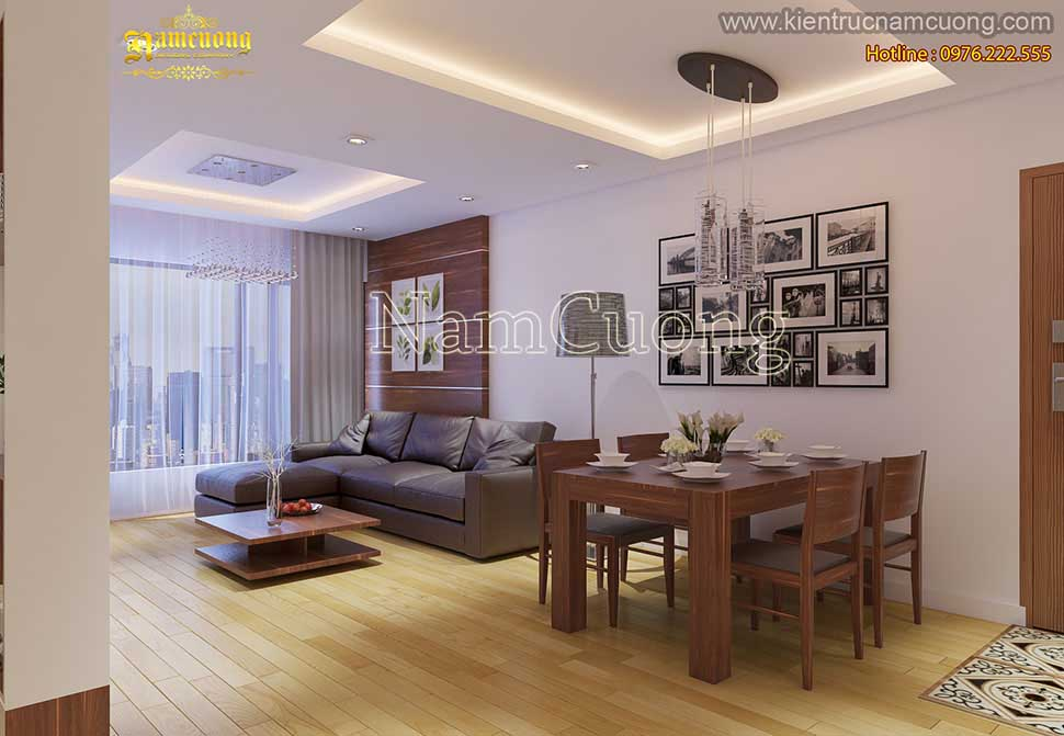 Thiết kế phòng khách bếp chung cư 60m2