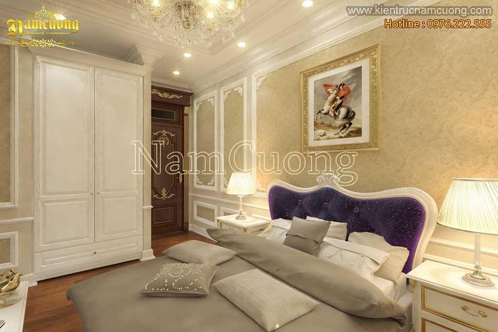 Mẫu nội thất phòng ngủ màu tím mộng mơ