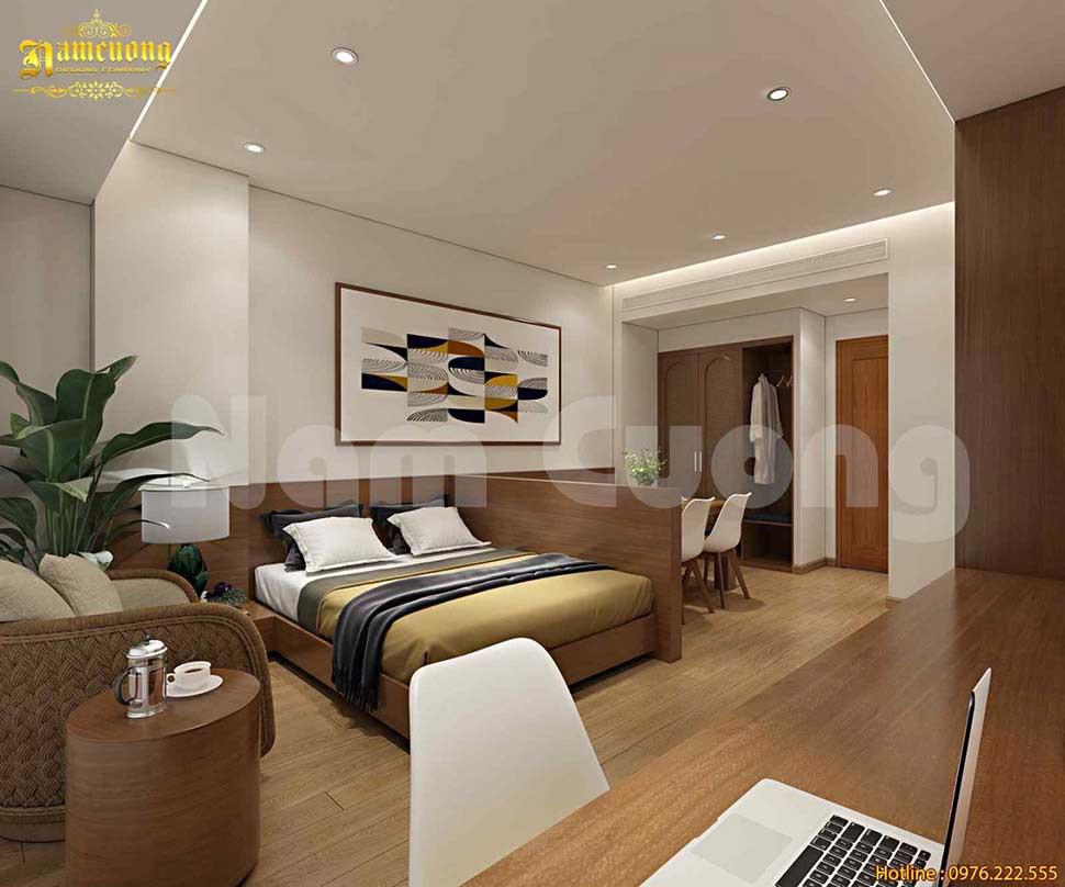 Nội thất phòng ngủ nổi bật với gam màu trầm ấm