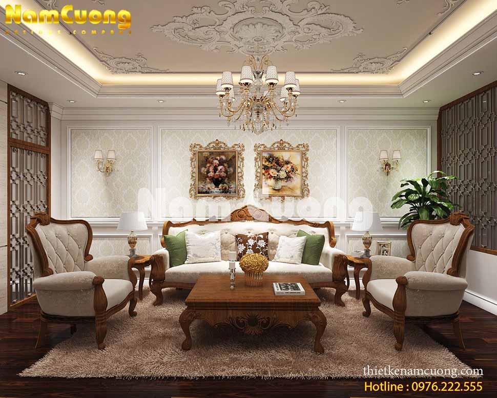 Nội thất gỗ ấn tượng cho biệt thự tân cổ điển