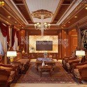 Mẫu nội thất phòng khách 35m2 tân cổ điển