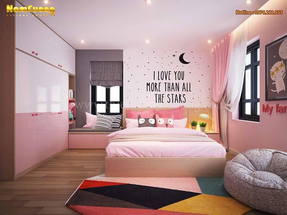 phòng ngủ bé gái 17m2