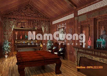 Mẫu thiết kế nội thất phòng thờ nhà gỗ cổ điển tại Hải Phòng