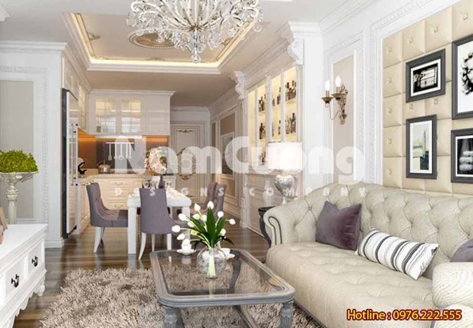 thiết kế nội thất phòng khách liền phòng bếp