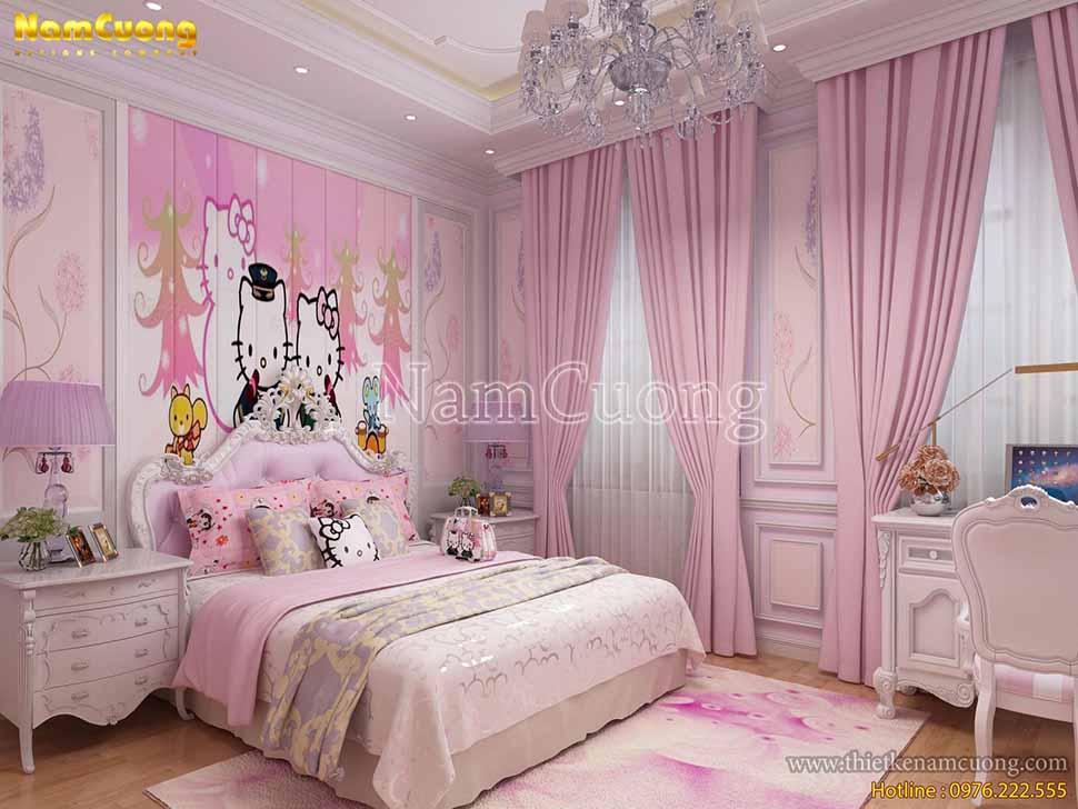 nội thất phòng ngủ con gái biệt thự 8x12m