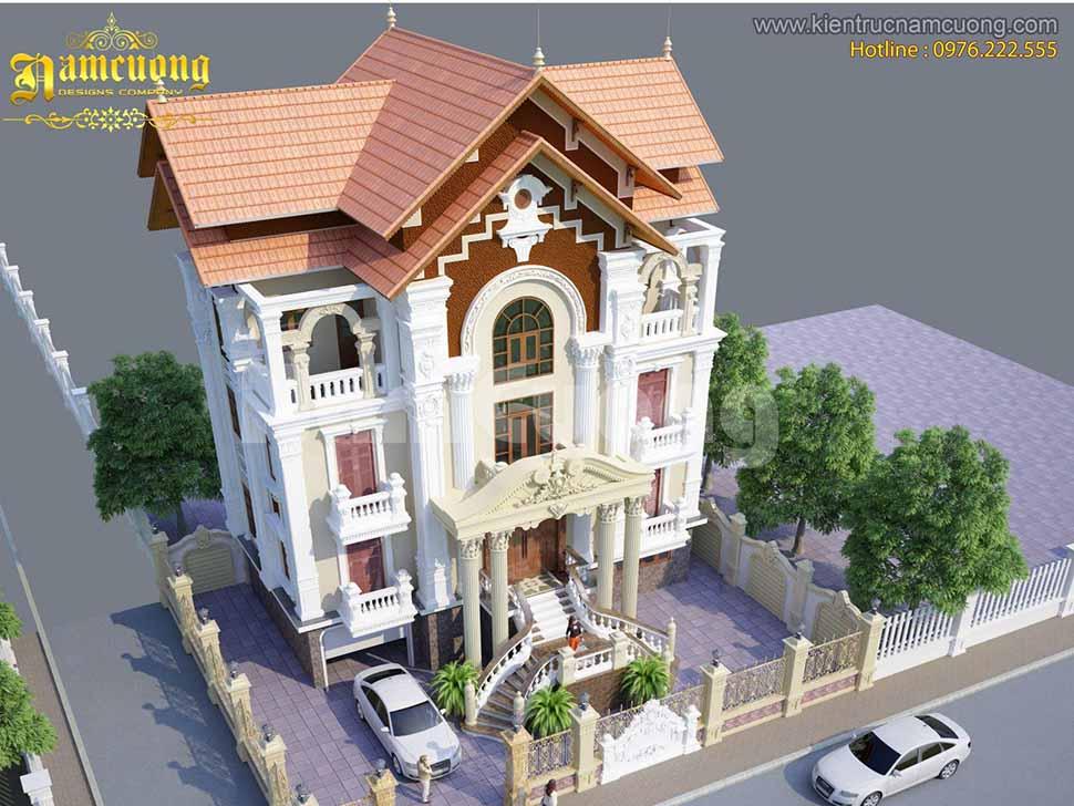 Thiết kế nhà biệt thự 3 tầng 4 phòng ngủ