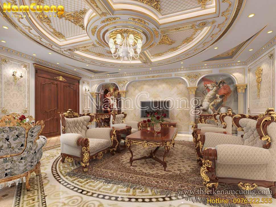 thiết kế phòng khách đẹp cổ điển