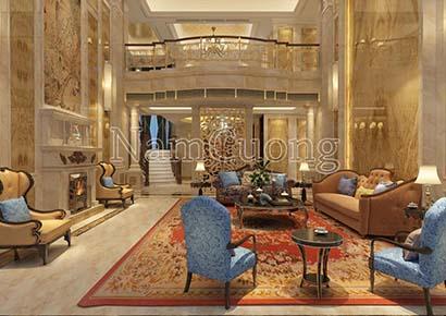 Thiết kế phòng khách rộng 40m2 kiểu cổ điển
