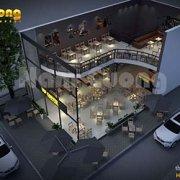 Thiết kế quán cafe 2 mặt tiền ấn tượng