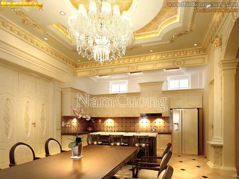 trang trí nội thất phòng bếp màu vàng