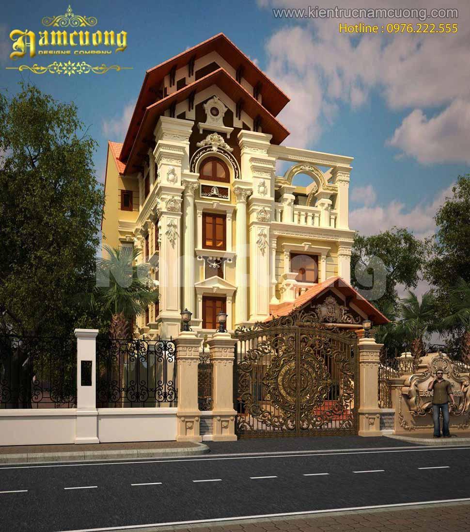 Thiết kế biệt thự Pháp tại Sài Gòn cao 3.5 tầng