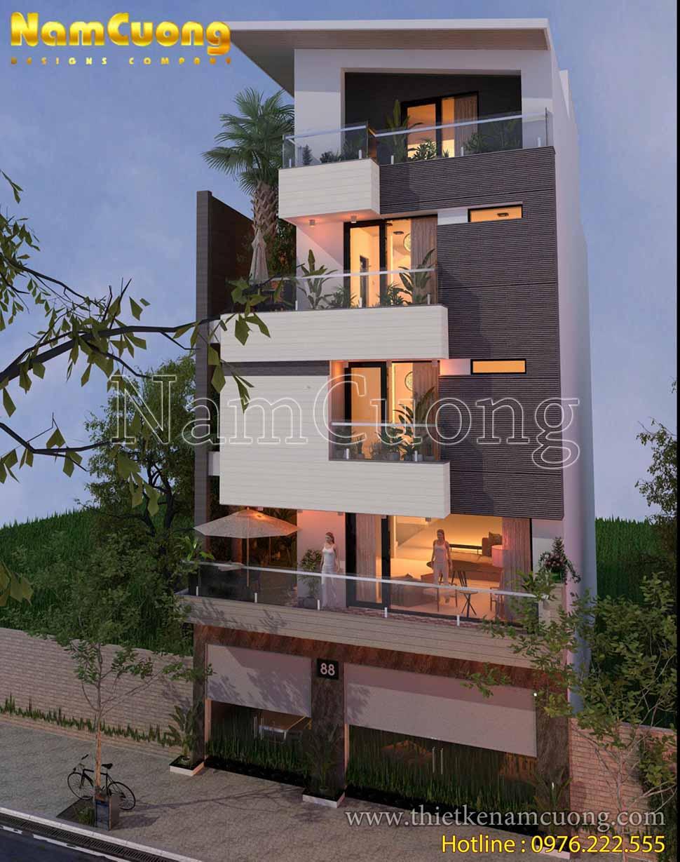 Thiết kế kiến trúc biệt thự phố mặt tiền 5m