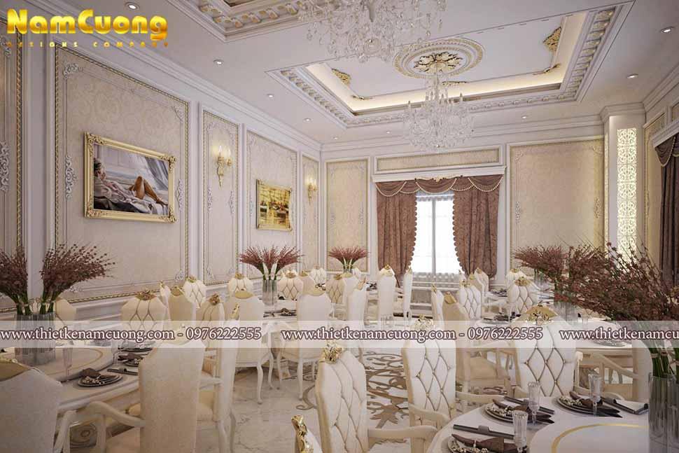 Mẫu nhà hàng tiệc cưới phong cách Pháp đẹp