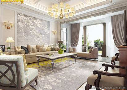 Phối cảnh mẫu nội thất phòng khách tân cổ điển