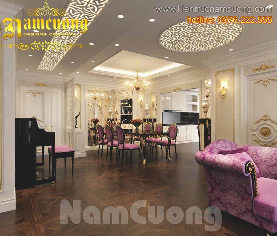 Thiết kế nội thất màu tím biệt thự Pháp