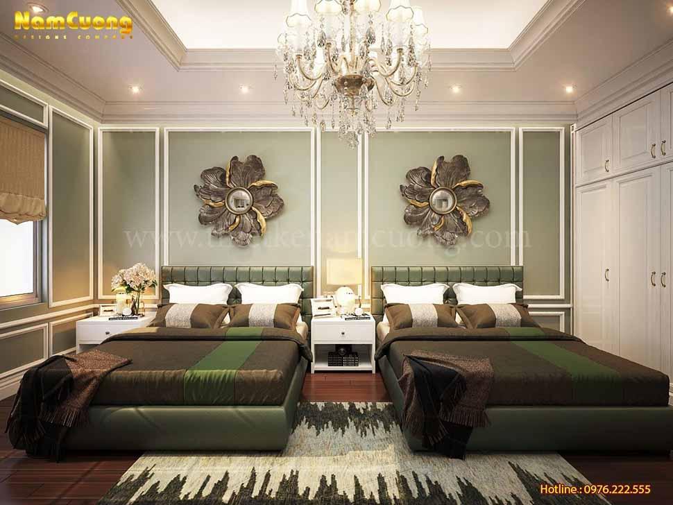 Phối cảnh 3D mẫu nội thất phòng ngủ khách sạn 4 sao