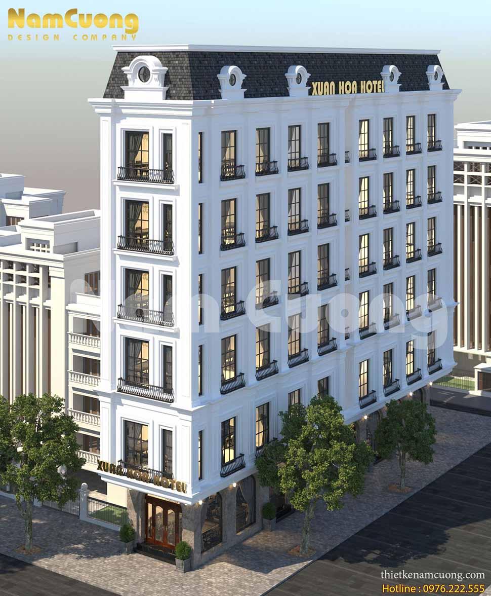 Thiết kế khách sạn tân cổ điển 7 tầng tại Cao Bằng