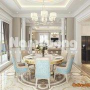 Thiết kế nội thất nhà bếp tân cổ điển rộng 30m2