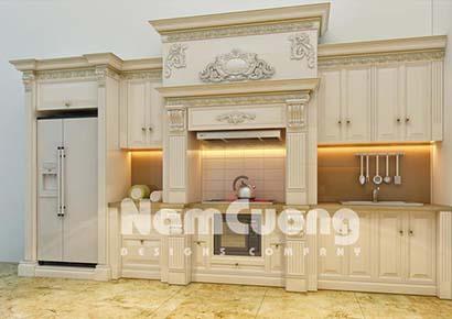 Thiết kế nội thất phòng bếp tân cổ điển rộng 25m2