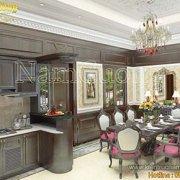 Thiết kế phòng bếp 25m2 biệt thự tân cổ điển